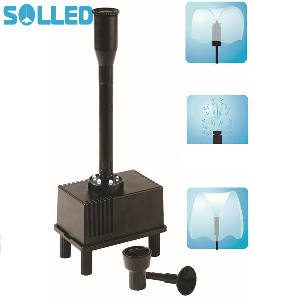 SOLLED Outdoor Fountain Water Pump with LED Light Submersible Pump with 3 Spray Nozzle for Aquarium Fish Tank Pond Hydroponics 51mm dc 12v water oil diesel fuel transfer pump submersible pump scar camping fishing submersible switch stainless steel