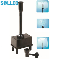 SOLLED Outdoor Fountain Water Pump With LED Light Submersible Pump With 3 Spray Nozzle For Aquarium