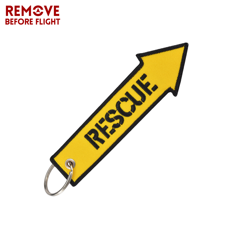 Remove Before Flight Rescue Key Chain For Cars Key Tag Cool Yellow Arrow Shaped Embroidery Key Fob OEM Keychain For Motorcycles