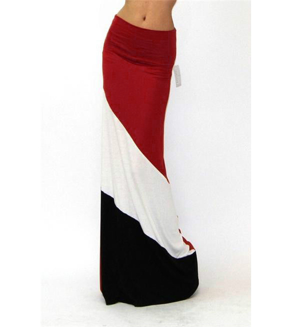 Wholesale Women Chiffon Long Skirts Stiped Splicing Maxi Women Skirts 2016 Spring Summer Skirts S M L XL Solid Colors $5k