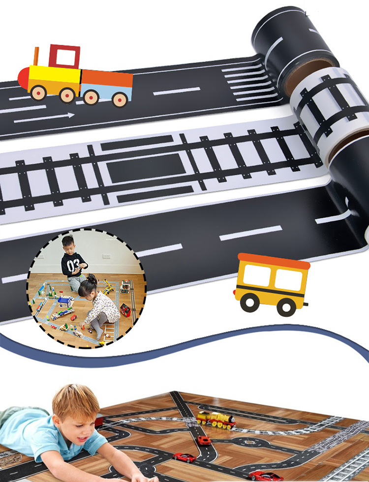 Black White Masking Tape Set Adhesive Railway Road Moto Washi Tapes Wide Traffic Sticky Paper scotch Tape for kids toy car play