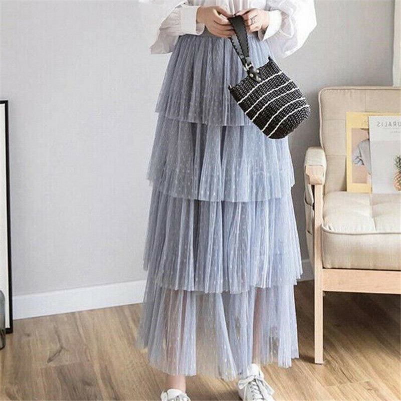 6 Solod Color Skirts Womens Ladies Pleated Tulle Dot Skirt Mesh Tulle High Waist A Line Skirt Elastic Waist Cake Layered Skirts