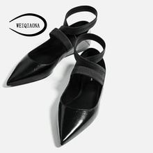hot deal buy weiqiaona fashion ladies flats elasticity sandals half drag pointed high quality shoes sexy shallow shoes ballerina women flats