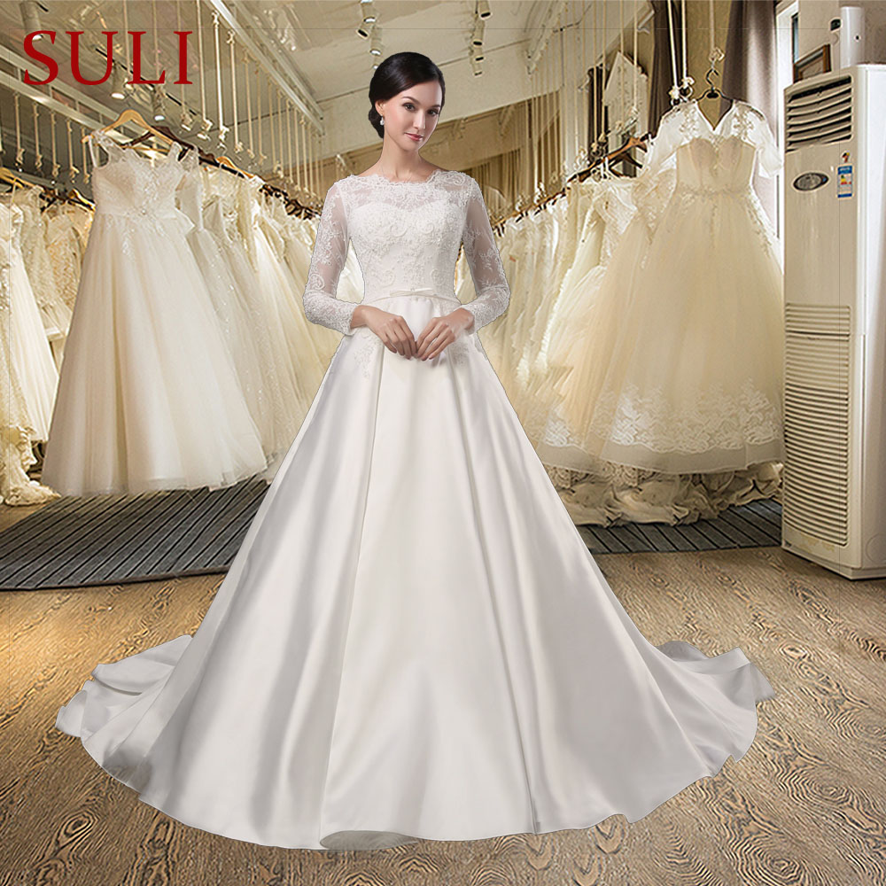 Princess Wedding Gowns With Sleeves: SL028 White Vestido De Noiva Lace Bridal Gown Beading Full