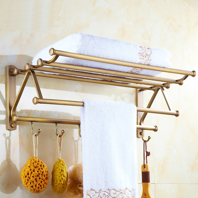 2 Style European Antique Brass bathroom shelves towel racks ...