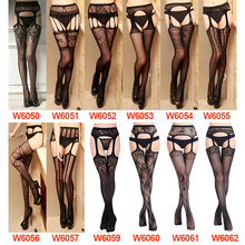Women Sexy Lingerie Stripe Elastic Stockings Transparent Black Fishnet Stocking Thigh Sheer Tights Embroidery Pantyhose W50-62