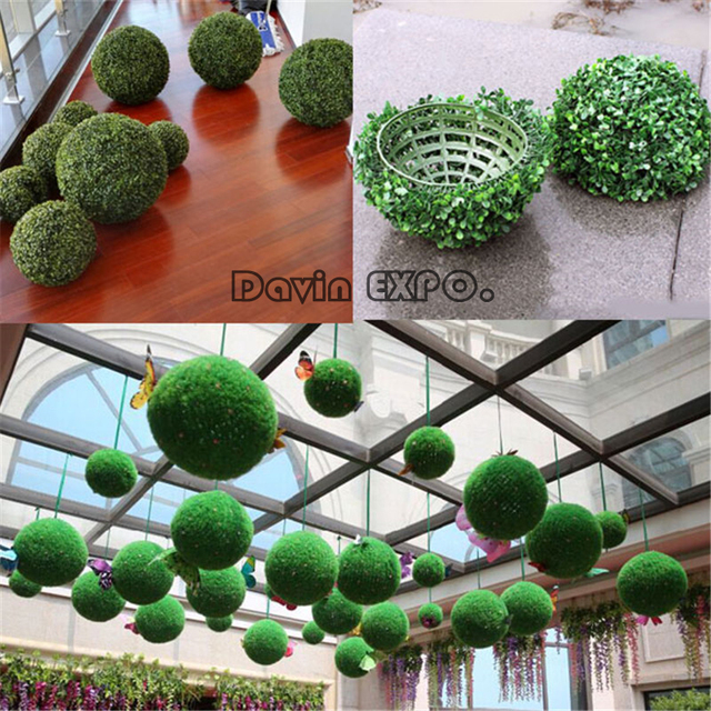 Indoor Garden Party Decorating Ideas Part - 44: New 18CM Artificial Grass Topiary Balls Out/Indoor Hanging Ball Wedding  Party Home Yard Garden