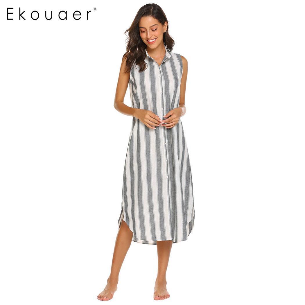 Ekouaer Cotton Nightgown Sleepshirts Women Striped Nightdress Sleepwear Front Button V Neck Sleeveless Nightwear Casual Nightie