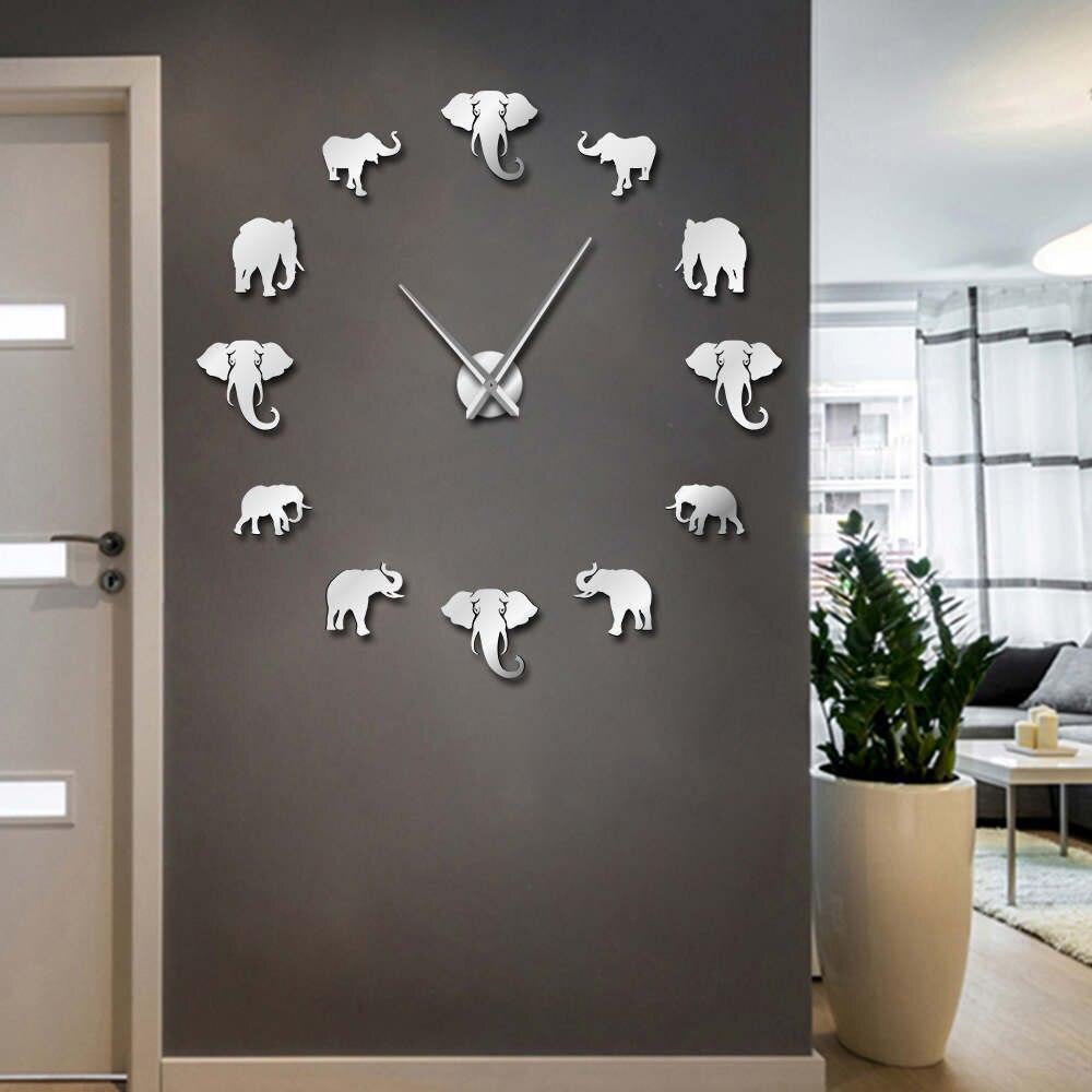 DIY Слон wall art Акриловые Безрамное гигантский настенные часы с зеркальной поверхностью эффект Большой висит часы декоративные дома гостиная спальня