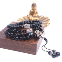 108 Black Onyx Mala Necklace Ancient Silver Tibetan Buddhism Metal Beads Long Necklace For Women Yoga