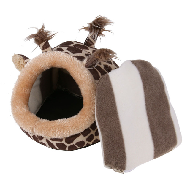 Chinchillas Squirrel Bed Nest Hamster House Cage Accessories Mini Animals Guinea Pigs Hamster Bed Pink Leopard