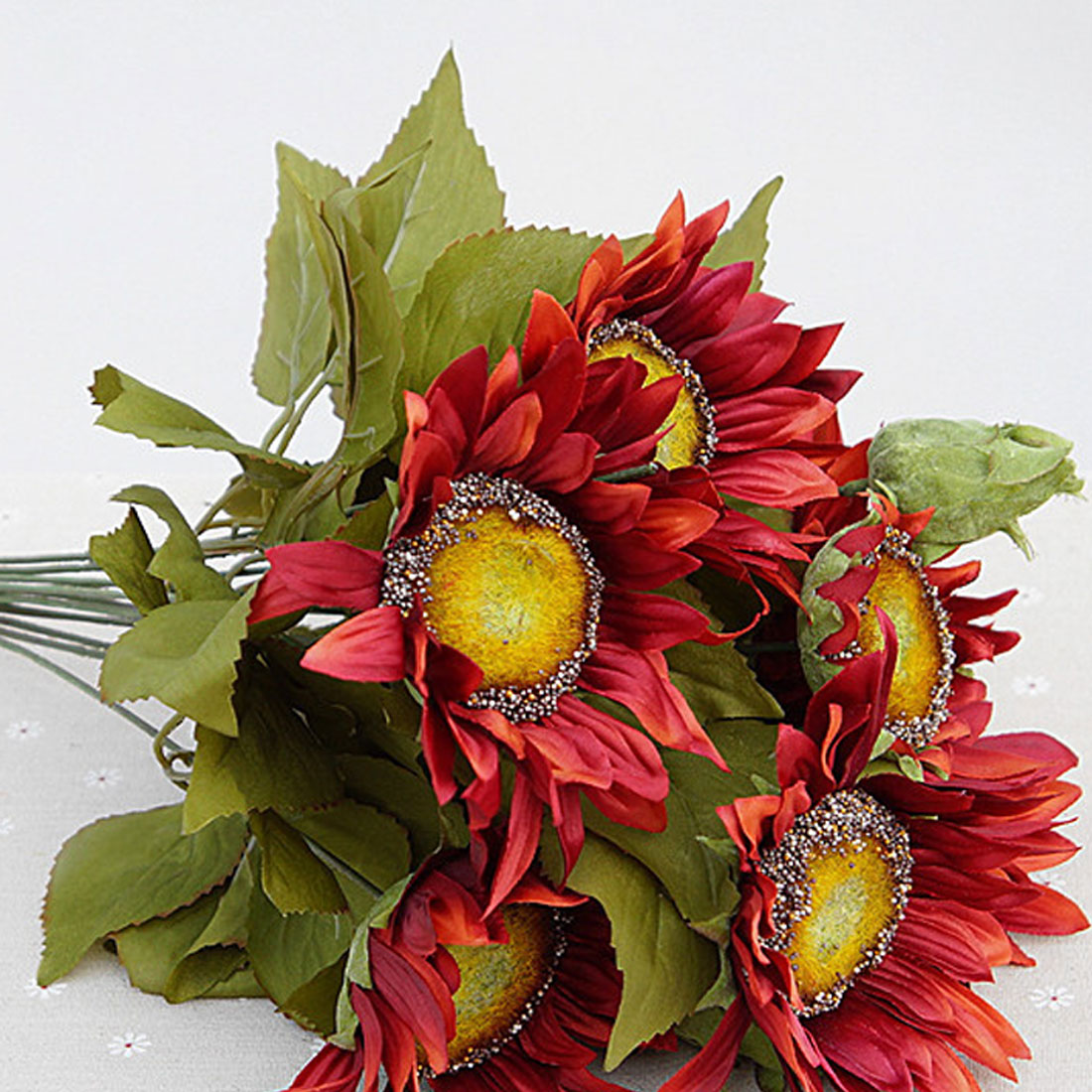 Best French Style Artificial Sunflower Silk Flowers Fake Leaf