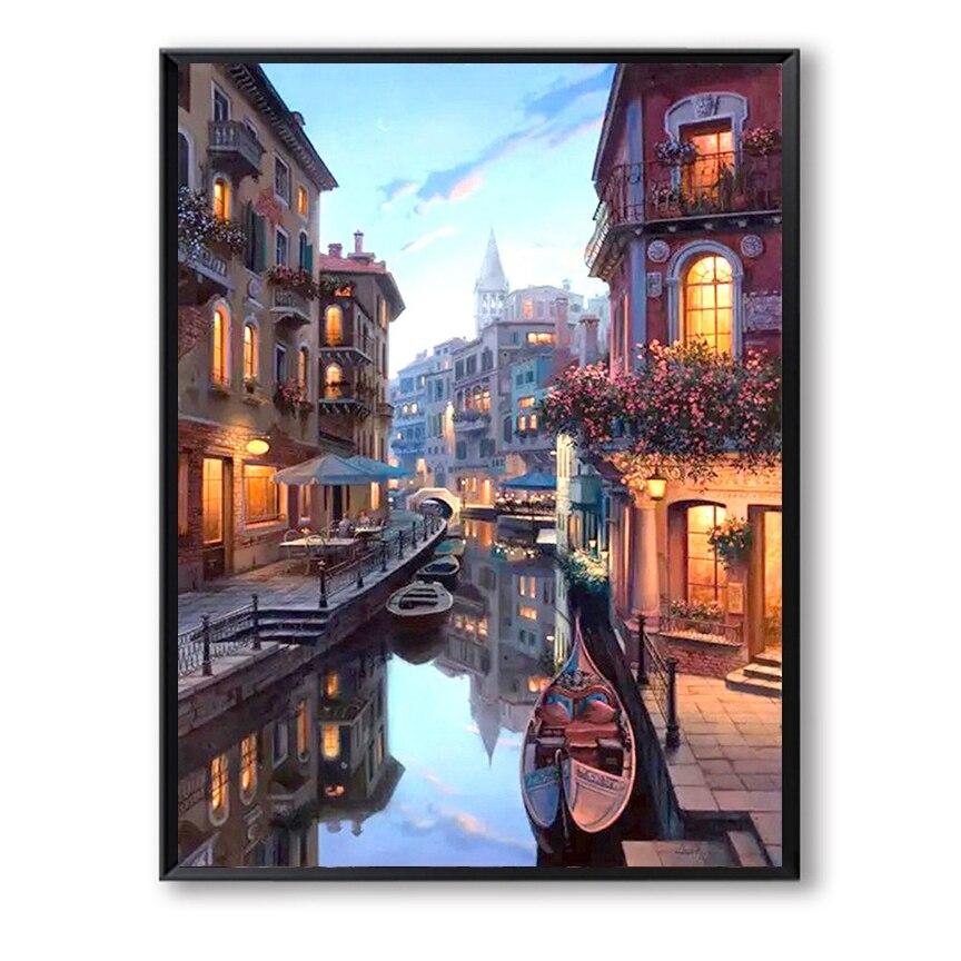 Венецианская ночь сцены DIY цифровой живописи маслом по номерам Европа Сити холст картины настенные панно для Гостиная FSZ-181