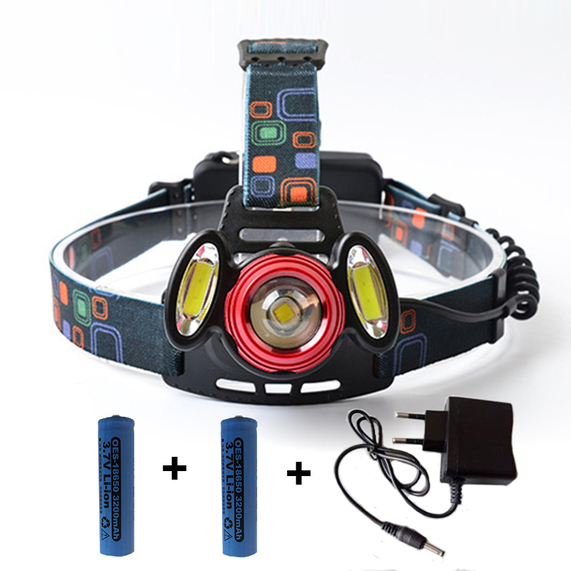Bright COB LED Headlamp T6 Led+2 COB Lights Sources ...