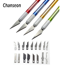 Metal Handle Scalpel Tool Craft Knife Cutter Engraving Hobby Knives +18pcs Blade for Mobile Phone Laptop PCB Repair Hand Tools