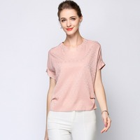 90% Silk Blouse Women Tee Shirt Plus Size Jacquard Fabric Simple V Neck 3 Colors Short Sleeves Loose Top New Fashion 2018