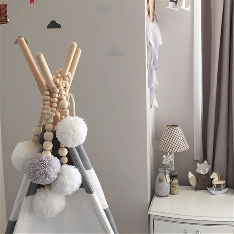 Kids Bed Room Crib Tent Decor Pillow Baby Room Decoration INS Moon Stars Wooden Beads Strings Toys Photography Props