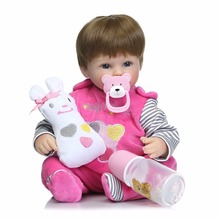Soft Silicone Vinyl Dolls 42cm Doll Reborn Baby Brown Wig Girl Handmade Cotton Body Lifelike Bebe juguetes Babies Toys bonecas R
