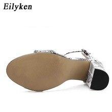 Eilyken Women Ankle Strap Sandals Snake Print Square heel Fashion Pointed toe Ladies Fashion shoes 2019 New Women Sandals