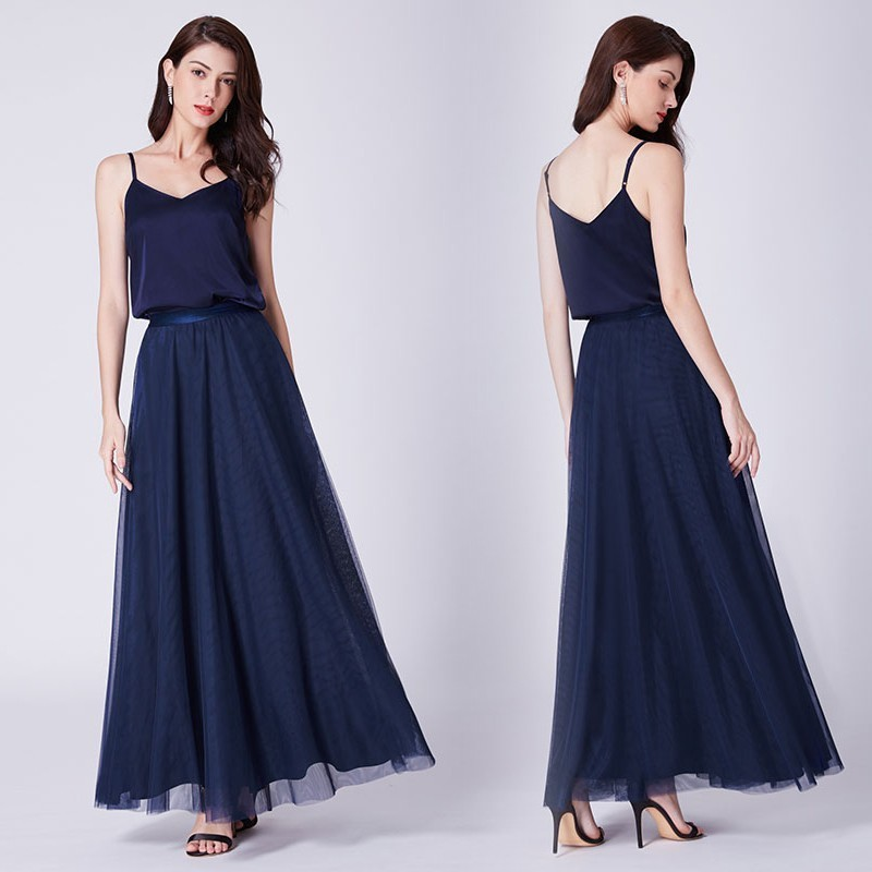 2018 New A Line Adjustable Straps Long Bridesmaid Dress Ever Pretty Simple Sleeveless Navy Blue Party Gown with Spaghetti Straps