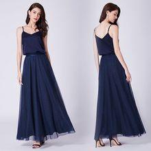 Promoción De Vestido Azul Marino Largo De Alta Calidad