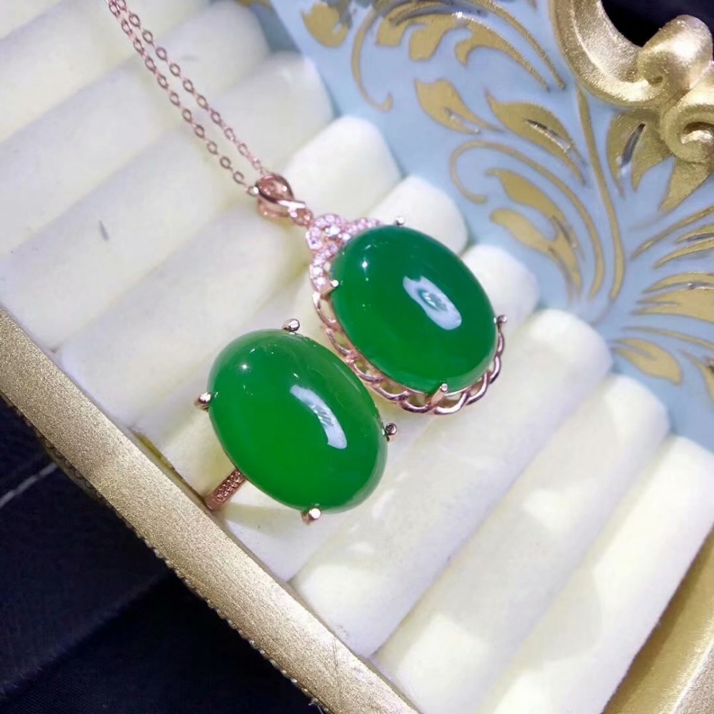 SHILOVEM 925 silver real natural green chalcedony pendants rings send necklace classic wedding Fine gift lptz13181520agby