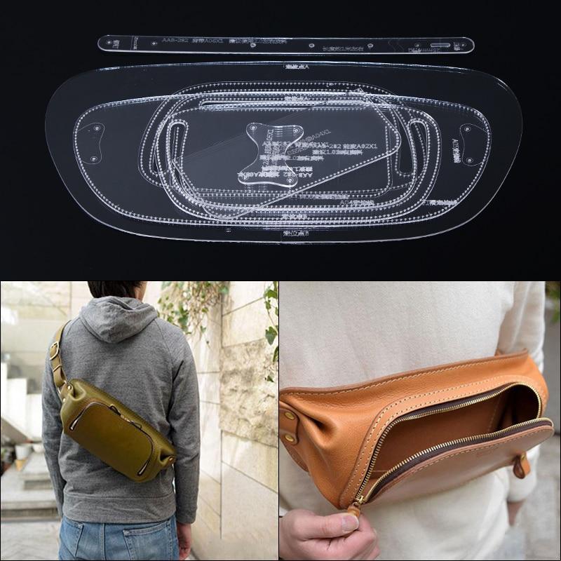 1set DIY Clear Acrylic Handmade Shoulder Bag Waist Pack Leather Template Leathercraft Cutting 38*17.5*5cm