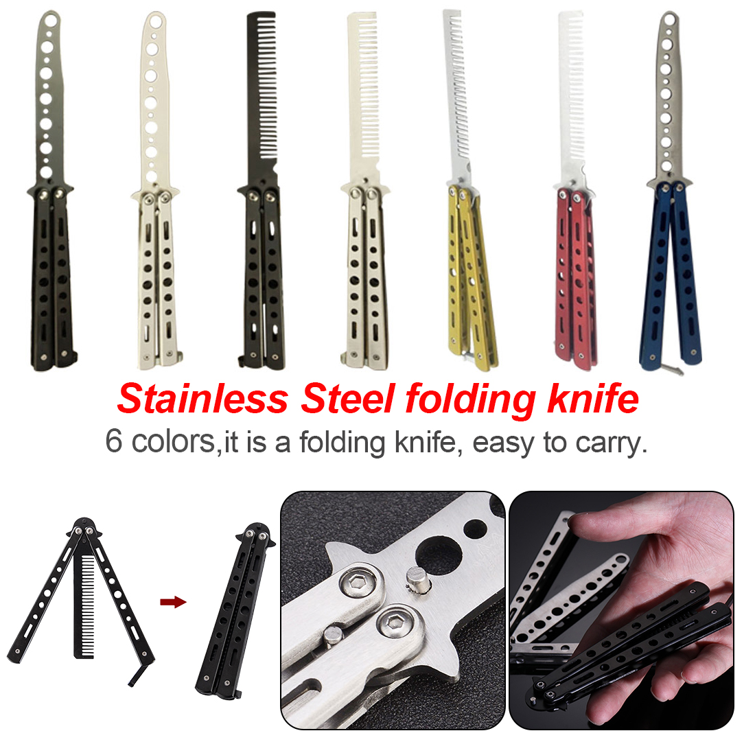 Portable Skull Printing Folding Training Camping Tools Safe Durable Practice Tool No Edge Blade with Hole,Grey