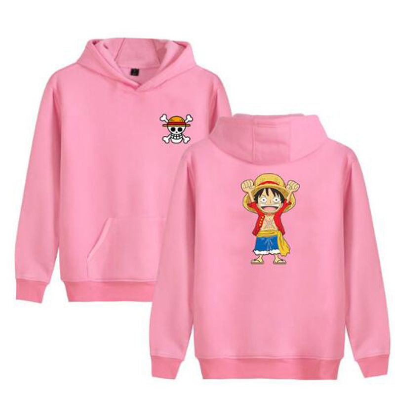 Cartoon Anime One Piece Pink Hoodie Sweatshirts Men Women Hipster Monkey D Luffy Print Fleece Warm Hooded Jacket Male Streetwear