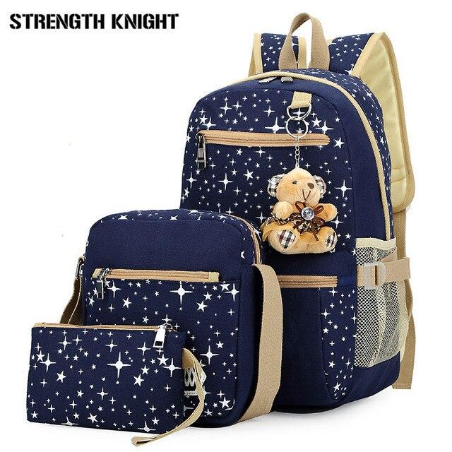 27d29b31b0e US $21.5 49% OFF|2018 Girls Canvas Backpack 4 Pcs/set Women School  Backpacks Schoolbag For Teenagers Student Book Bag High Quality Boys  Satchel-in ...