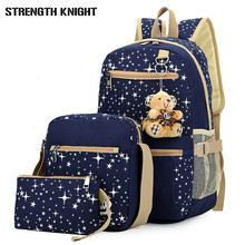 купить 2019 Girls Canvas Backpack 4 Pcs/set Women School Backpacks Schoolbag For Teenagers Student Book Bag High Quality Boys Satchel по цене 1262.89 рублей
