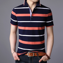 2019 New Fashions Brand Polo Shirt Mens Striped Cotton Summer Slim Fit Short Sleeve turndown collar Polos Casual Men's Clothing