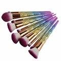 Pincel de Maquillaje Kabuki 10 unids Hilo Arco Iris unicornio Profesional Componen Cepillos Conjunto de Mezcla En Polvo Fundación Contour Brush Kit