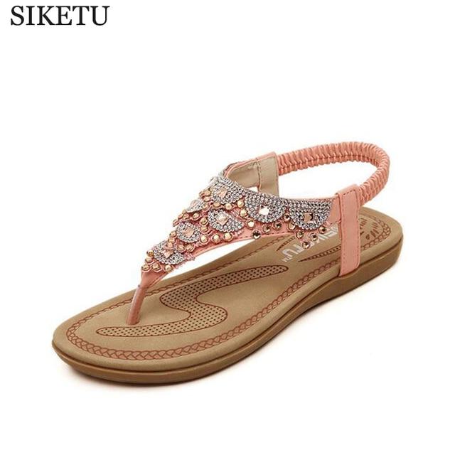 596c3628ae US $30.75  SIKETU 2017 Flat Sandals T strap Fashion Trend Sandals Bohemia  National Flat Heel Beaded Female shoes sale women shoes s187-in Women's ...