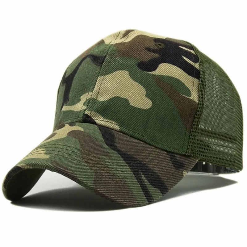 Camo Plain Mesh Trucker Hat Adjustable Camouflage Mesh Trucker Cap for Men