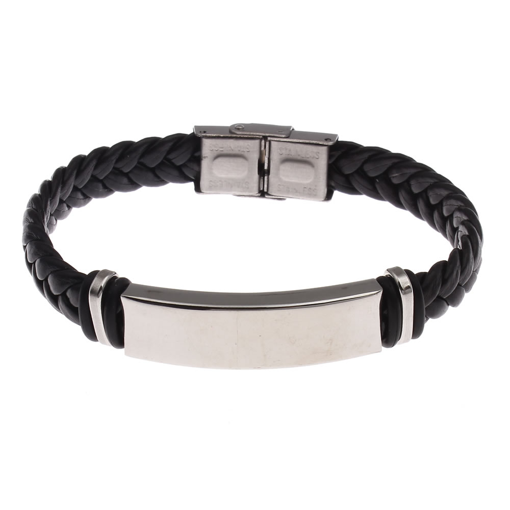 Leather bracelet men pU punk bracelets wrap wristband stainless steel hombre sporty bicycle cool braided weaved black bracelets
