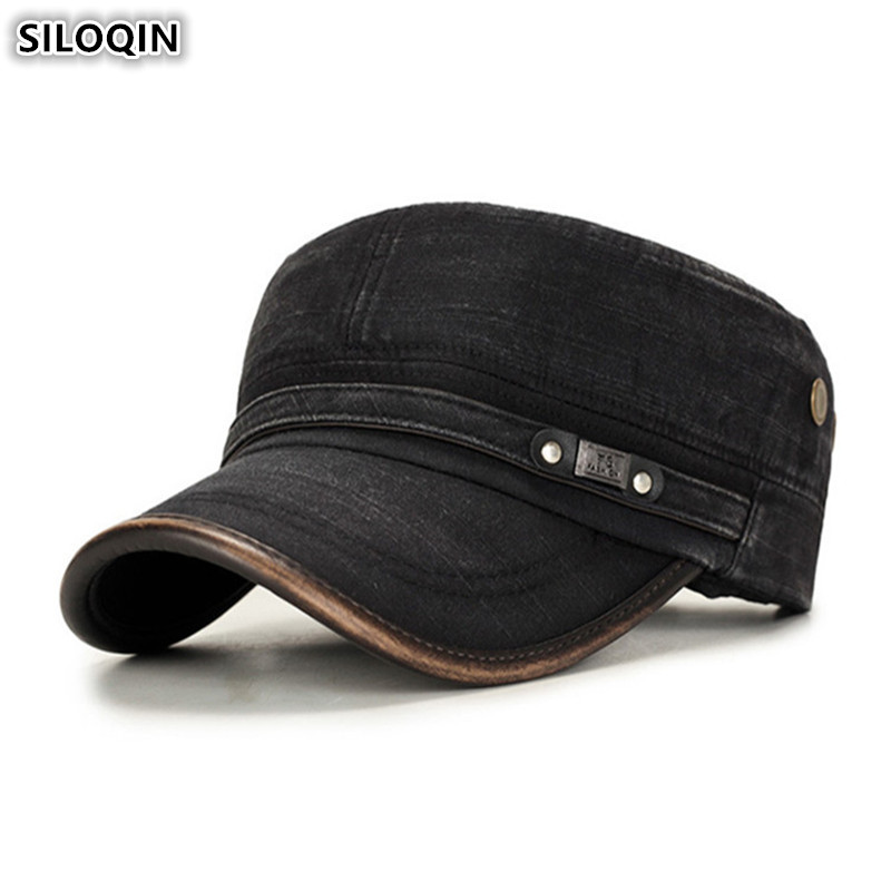 SILOQIN Adjustable Size Men's Summer Hat Fashion Retro Flat Caps Washed Cotton Military Hats For Men Brands Bone Snapback Cap