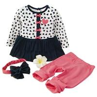 New Kids Baby Meisjes Kleding Set hartvormige Jurk, Broek & Boog Hoofdband 3-Piece Kleding Set Leuke Kinderen Outfits Pak 1-3 T