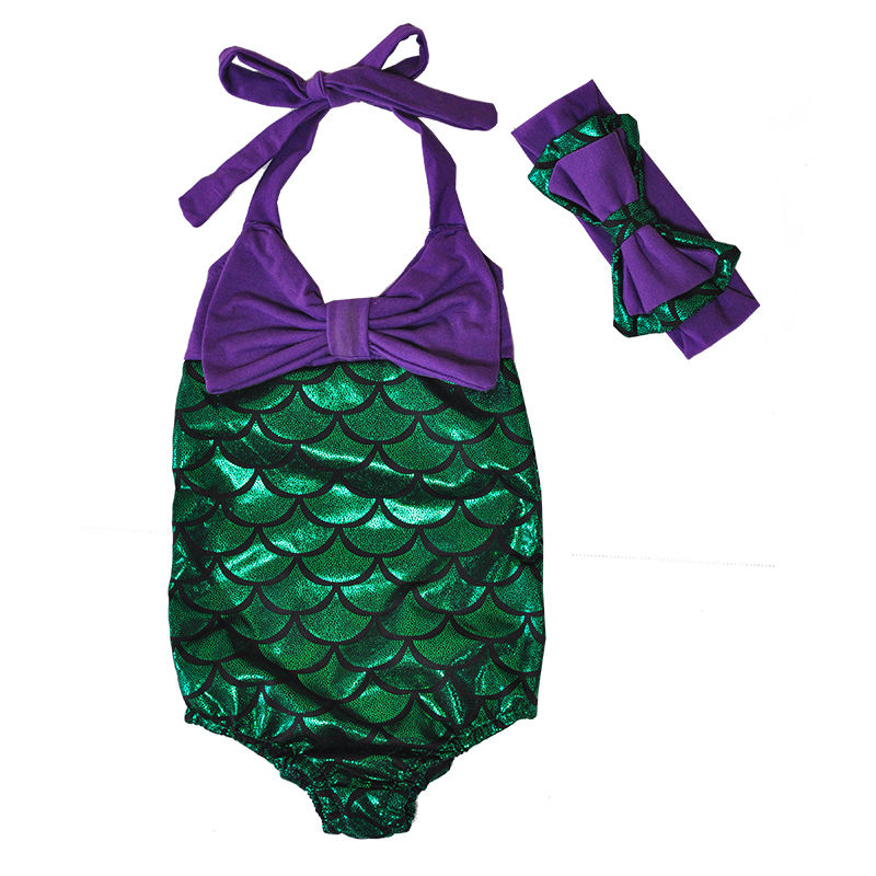 afcdd4f42 New Summer Kids Baby Girl One piece Bow Mermaid Scale Bikini Swimwear  Swimsuit Bathing Suit Beachwear Costume-in Children's One-Piece Suits from  Sports ...