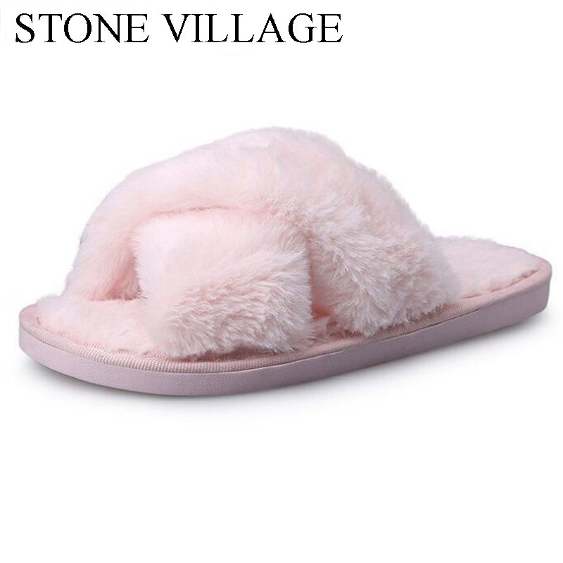 Cross-Tied Plush Warm Cotton Home Slippers Female Cute Flip Flops Fashion Fur Slippers