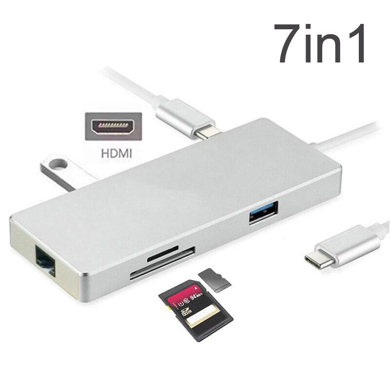 Moyeu en alliage d'aluminium USB 3.0 Type moyeu C avec Type C chargeur 4K HDMI adaptateur vidéo Gigabit Ethernet lecteur de carte SD/TF pour MACBOOK
