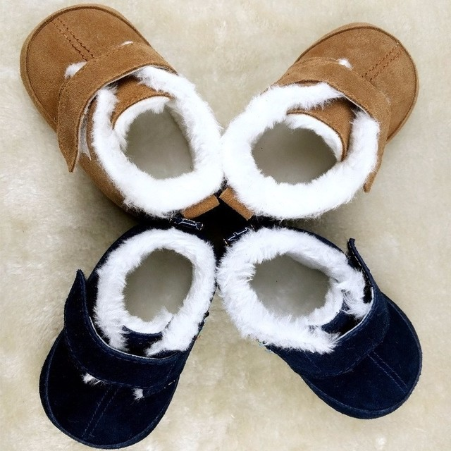wholesale winter warm infant fur Hard sole Genuine Leather baby shoes Toddler baby moccasins First walker Boots Boys shoes 0-18M