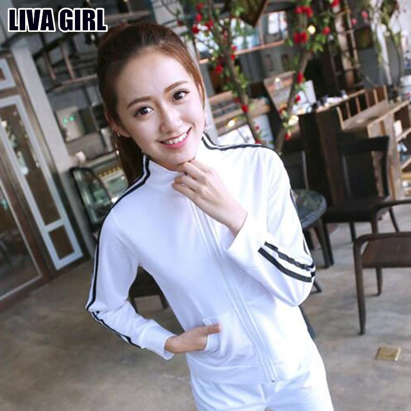 Liva Girl Hot New Soft Slim Cotton Two Piece Set Womens Casual Long Sleeve Top And Pants Sportswear Female Clothings Tracksuit