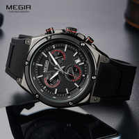 Relojes de pulsera Megir de cuarzo deportivos de silicona negra para hombre, Relojes luminosos, Relojes, cronógrafo resistente al agua, Relojes de Q2073G-BK-1