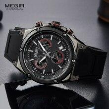 Megir الرجال الأسود سيليكون الرياضة ساعات يد كوارتز مضيئة Relojios Relojes مقاوم للماء كرونوغراف ساعة Montres Q2073G BK 1