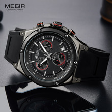 Megir 男性黒シリコンスポーツクォーツ腕時計夜光 relojios relojes 防水クロノグラフ時計 montres Q2073G BK 1