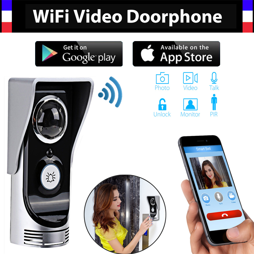 Wireless 4G WiFi 720P Video Door Phone Intercom Doorbell IP System Remote Unlock Alarm Monitor for Android IOS Phone APP 2016 new wifi doorbell video door phone support 3g 4g ios android for ipad smart phone tablet control wireless door intercom
