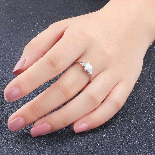 Classic Eternal Heart 925 Sterling Silver Rings for Women Blue Pink White Opal Ring Female Engagement Finger Ring (Lam Hub Fong) 6