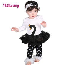 2018 Newes Baby Girls Tutu Dress Body Swan Print Long Sleeve Vestidos Ruffle Children Clothes Glasses 4 Pcs /set  Autumn