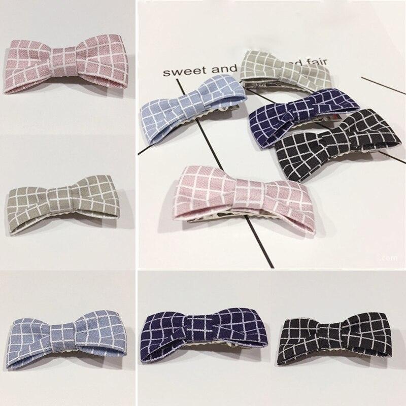 Bowknot Plaid Cloth Hairpins Barrettes Non - woven fabric Hair clip Duckbill clip cute Girl headdress Hair Accessories for Women